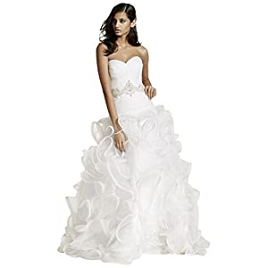 David's Bridal Ruffled Skirt Wedding Gown with Embellished Waist Style SWG492