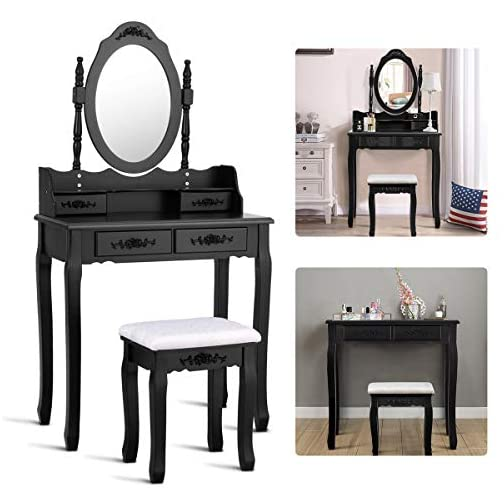 Giantex Vanity Set with Oval Mirror and 4 Drawers, Makeup Dressing Table with Cushioned Stool, Modern Bedroom Bathroom…