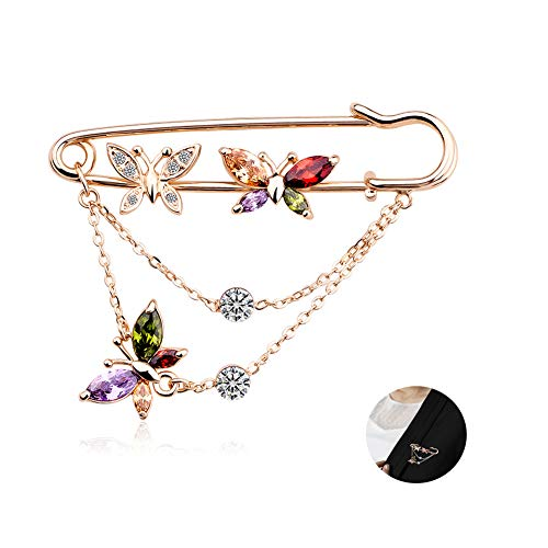ZBSPM Ladies Brooch Pin, Luxurious Romantic Butterfly Crystal Brooches, Rose Gold Collar Pin Needle Costume Accessories, Stunning Gifts for Her