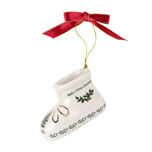 Spode Christmas Tree Annual Edition Ornament, Baby's First Christmas - Bootie Baby Ornament