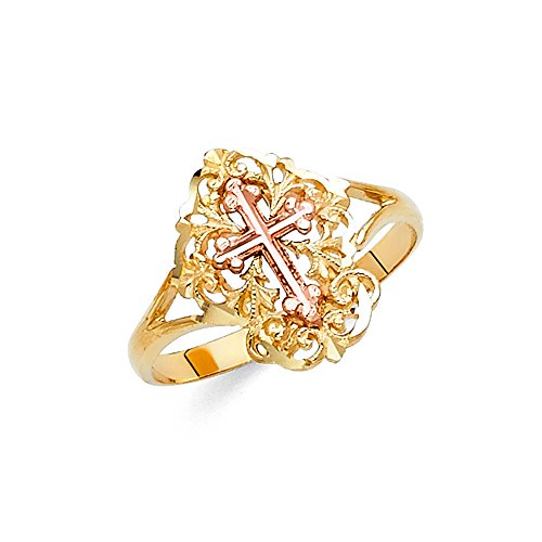 Ioka - 14K Two Tone Solid Gold Cross Fancy Ring - size 7.5 (Two Tone Gold Cross Ring)