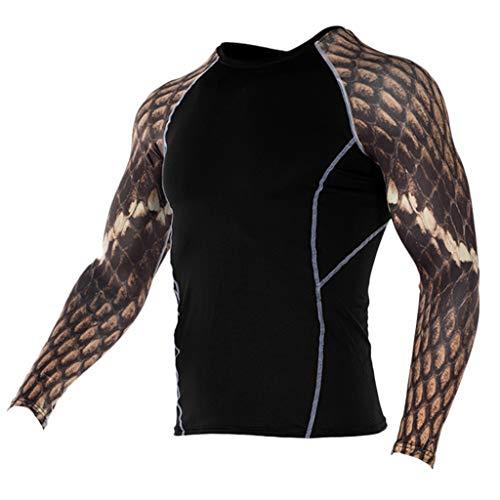 HSada Men's Quick Dry Workout Shirt Long Sleeve Printed Compression Shirt Bodybuilding Weight Loss Shapewear Underwear