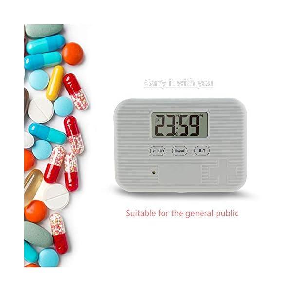 KOBWA - Caja de almacenamiento para pastillas de medicina, digital, ligera, con 5 alarmas de temporizador, pastillero de… 14