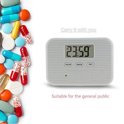 KOBWA - Caja de almacenamiento para pastillas de medicina, digital, ligera, con 5 alarmas de temporizador, pastillero de viaje 13