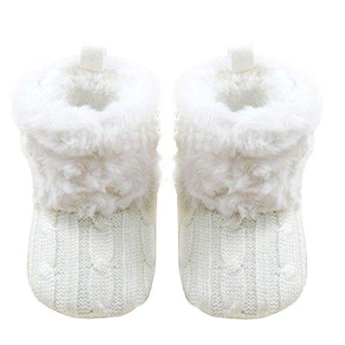 Voberry Baby Premium Soft Sole Anti-Slip Warm Winter Infant Prewalker Toddler Button Snow Boots (6-12months(12CM), White)