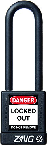 """ZING 7052 RecycLock Safety Padlock, Keyed Different, 3"""" Shackle, 1-3/4"""" Body, Black from Zing Green Products"""
