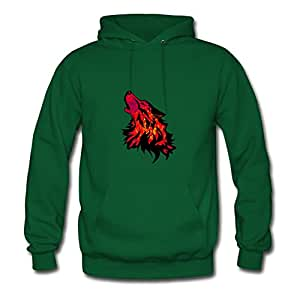 Women Hoody Wolf Printed For Style Personality Sweatshirts-green X-large