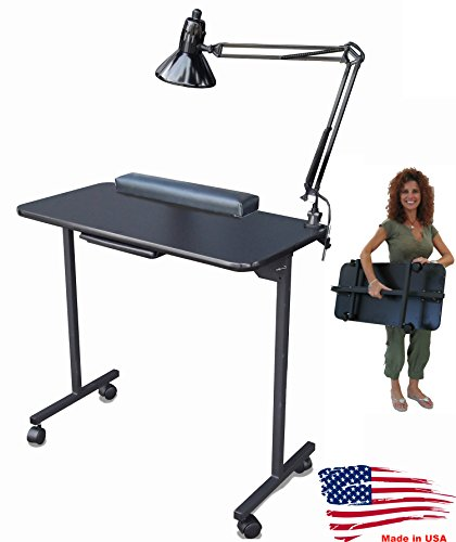 310DLX Foldable Portable Nail Manicure Table Black Top by Dina Meri by Dina Meri