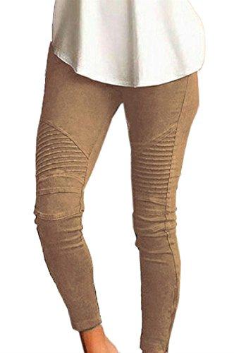 Abbigliamento Pantaloni Matita Fashion A Skinny Libero Donna Cintura Tempo Elastica Khaki Ragazza Chic Elastico Colori Autunno Matita Legging Solidi Lunga Trousers qHqOrx5