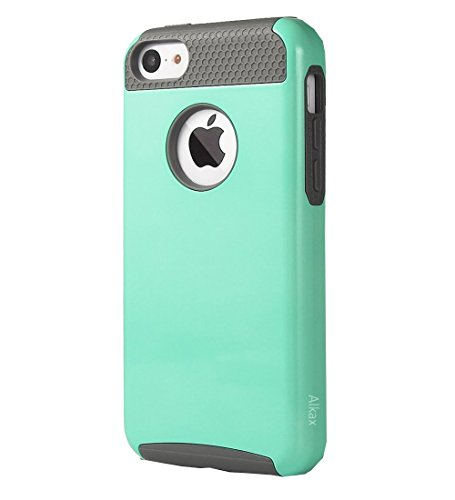 iPhone 5C Case , 5C Case ,Alkax 2 piece Armor Heavy Duty Slim Fit Series Shock-Absorption Protective Soft Rubber inner Skin Bumper & Hard Shell PC Cover for Apple iPhone 5C +1 Stylus Pen (Teal grey)
