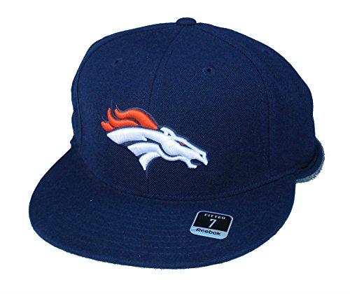 Denver Broncos Fitted Size 7 NFL Authentic Navy Fleece Back Hat Cap