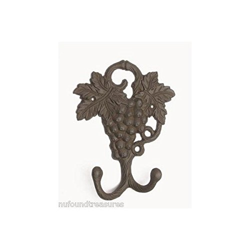 Grape Vine Dual Hook Kitchen or Barware Wall Decor ()