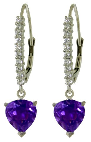 14k White Gold Diamond Leverback Earrings with Amethyst Heart