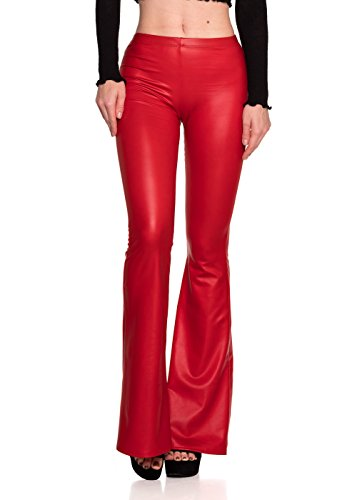 - Women's J2 Love Faux Leather Bell Botom Flare Pants, Medium, Red