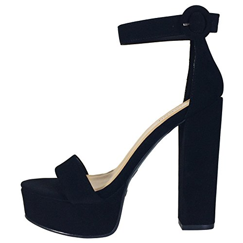 Image of BAMBOO Women's Chunky Heel Platform Sandal with Ankle Strap