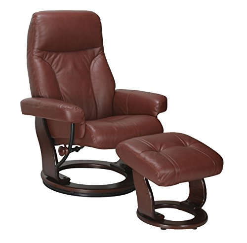 Super Nova Genuine Leather Swivel Recliner Chair and Ottoman Lounger (Cognac)