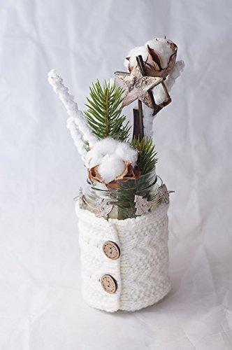Weisse Winterliche Tischdeko Tischgesteck Mit Baumwolle Und