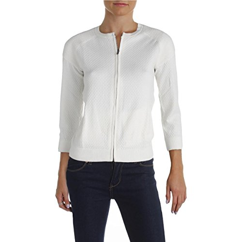 Marc by Marc Jacobs Womens Pattern Ribbed Trim Cardigan Sweater White (Marc Jacobs Cropped)