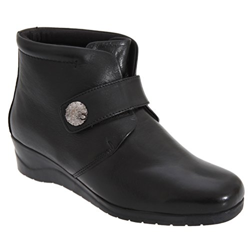 Botines De Costura Para Mujer Mod Comfys Mujeres / Ladies Touch Fastening Black