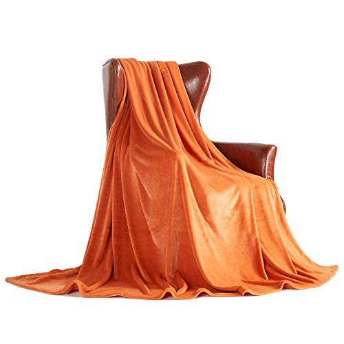 "MERRYLIFE Decorative Throw Blanket Ultra-Plush Comfort | Soft, Colorful, Oversized | Home, Couch, Outdoor, Travel Use | (50"" 60"",Apricot Orange"