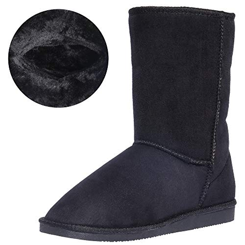 (CINAK Women's Resistant Snow Warm Boots Gift Fashion Christmas Short Boots Suede Mid-Calf Boots (7-7.5 B(M) US/ CN39 / 9.5'', Black))