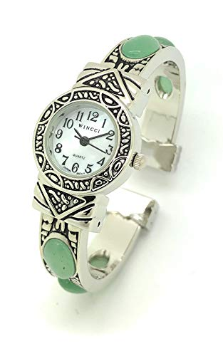 Ladies Silver Metal Bangle Cuff Fashion Watch with Stones Pearl Dial Wincci (Jade)