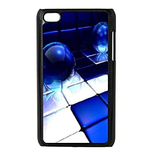 Kweet Blue Light Ipod Touch 4 Case Blue Spheres for Girls Protective, Ipod Touch4 Case, [Black]