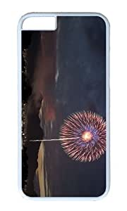 MOKSHOP Adorable Firework Night Hard Case Protective Shell Cell Phone Cover For Apple Iphone 6 Plus (5.5 Inch) - PC White