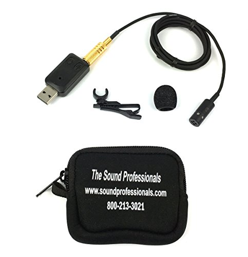 Sound Professionals USB High Sensitivity Uni-Directional Lapel Microphone - Includes AT831-SP and USB Audio Adapter (lapel clip and windscreen are included) 48 inch microphone cable