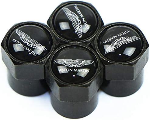 4 pcs Chapeaux dair de Tige de Valve de Pneu de Voiture,pour Aston Martin Capuchon de Valve Antivol de Pneu Voiture avec Logo D/écoration Accessoires Auto