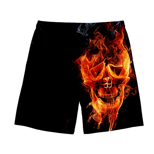 chaqlin Men's Swim Trunks Fire Skull Design Volley Board Shorts with Mesh Lining Quick Dry Summer Surf Beach Short Size-L ()