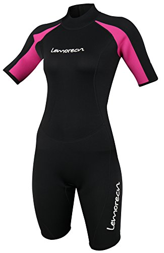 Lemorecn Wetsuits Womens Premium Neoprene Diving Suit 3mm Shorty Jumpsuit(3045-4) (Wetsuit Shorty Womens)