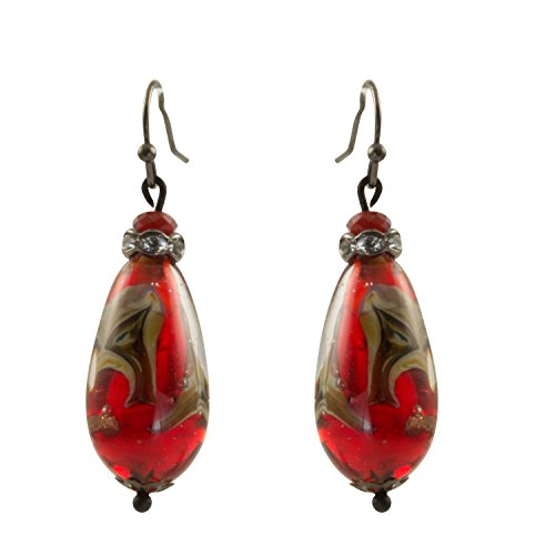 Glass Earrings Bead Swirl (Just Give Me Jewels Red Murano Glass Swirl Teardrop Bead Dangle Earrings)