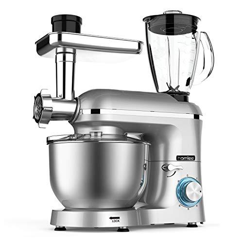 Homlee Robot da Cucina Multifunzione,1800W Impastatrice Planetaria 5,5 litri Terrina in Acciaio Inox, Tritacarne, Ganci per pasta, Frullatore Succo 1,5L, 6 livelli,Argentato