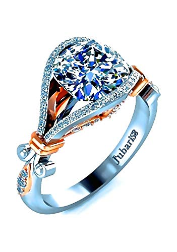 02eaea984 Amazon.com: 1.96Ctw Oval Diamond Engagement Ring Foliage Custom ...