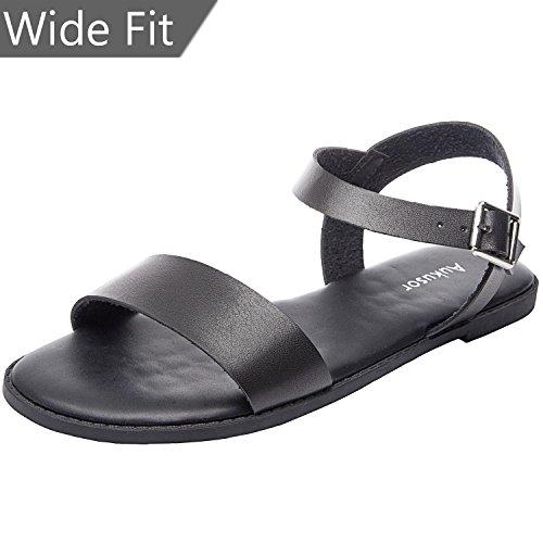 Women's Wide Summer Flat Sandals - Open Toe One Band Ankle Strap Flexible Shoes(180307 Black,9.5WW)