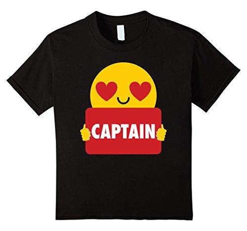 Captain Black Heart (Kids Captain Shirt Heart Eye Emoji T-Shirt Tee 8 Black)