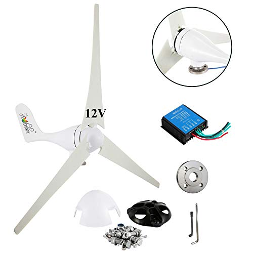 (Wind Turbine Generator Kit 400Watt DC12V Indoor Outdoor Using of 3 Blades Marine, rv, Homes, Businesses and Industrial Energy Supplementation+ Controller +Flange)