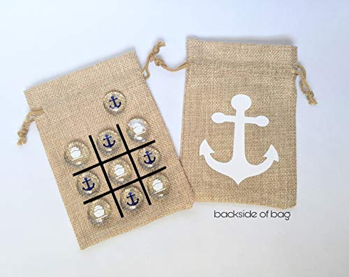 Tic Tac Toe Game - Cruise Fish Extender or Pixie Dust Gift - Birthday Party Favor - Travel Size Game - Ship and Anchors