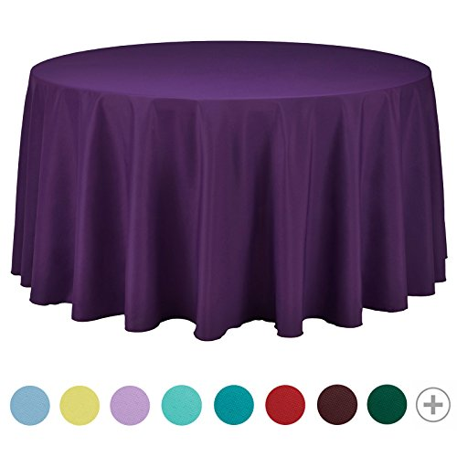 VEEYOO 120 inch Round Solid Polyester Tablecloth for Wedding Restaurant Party, Purple