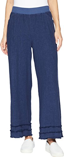 Mod-O-Doc Women's Linen Rayon Cropped Pants with Fringe Trim New Navy X-Small 25