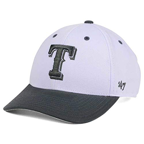 ('47 Brand Texas Rangers T Logo White Gray MVP Curved Visor Strapback Cap Hat)