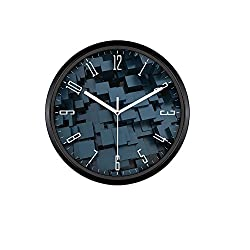 Kinger_Home 12-inch Quartz Silent Metal Frame Wall Clock, Large Fashion Concise Design Home Kitchen/Living Room/ Bedroom Round Ultra Mute Quartz Movement Metal Frame Wall Clock(3D Square,Black)