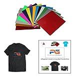 HTV Heat Transfer Iron on Vinyl & FREE Ebook -15 Most Popular Colors (3 Glitter & 12 PU) 12x10 HTV for customizing T-Shirts, Fabrics, Hats, Scrapbooking etc BONUS eBook for Beginners w/ photos
