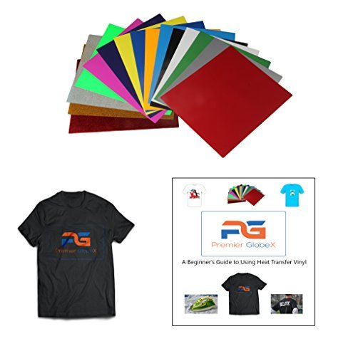 HTV Heat Transfer Iron on Vinyl & FREE Ebook -15 Most Popular Colors (3 Glitter & 12 PU) 12x10 HTV for customizing T-Shirts, Fabrics, Hats, Scrapbooking etc BONUS eBook for Beginners w/ photos (Free Printable Iron On Transfers)