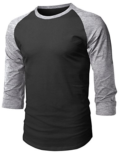 - Hat and Beyond Mens Baseball Raglan 3/4 Sleeve T Shirts 1HCA0008 (X-Large, 1hc08_Black/Gray)