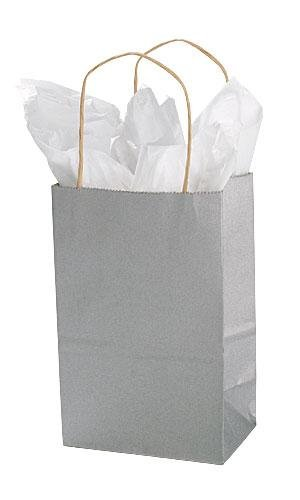 amazon com small metallic silver paper shopping bags 5 x 3