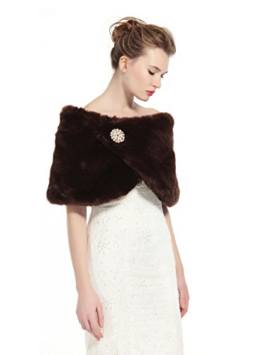 BEAUTELICATE Faux Fur Wrap Shawl Womens Shrug Bridal Stole for Winter Wedding Party Free Brooch Brown, 49