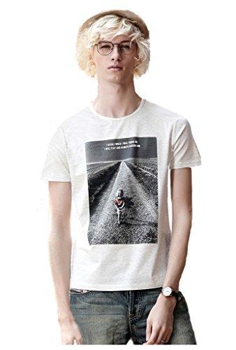 Faleto Mens Women Cotton Short Sleeve Round Neck T-shirt Girl\'s Back Printing Stylish Tee Shirt,Light Heather Grey XXL