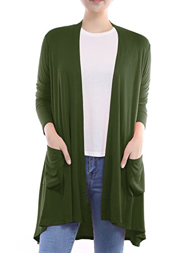 (BIADANI Women Long Sleeve Classic Lightweight Front Pockets Cardigan Olive X-Large)